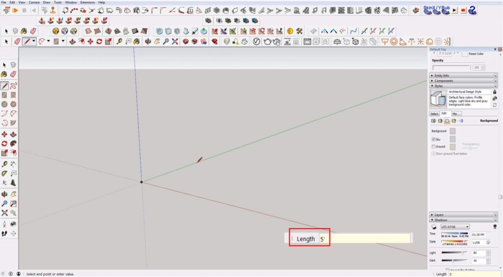 Sketchup for beginners: drawing a line