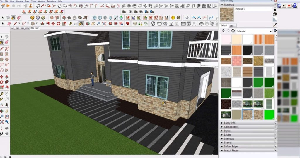 select materials in Sketchup