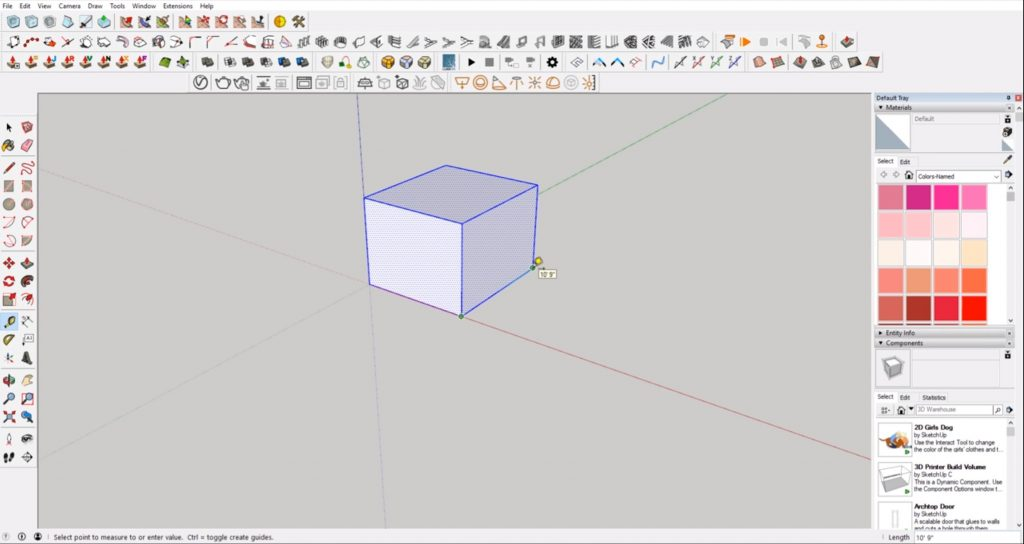 measure cube to scale in Sketchup