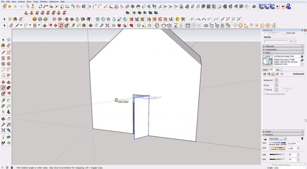 Sketchup for beginners: rotate door