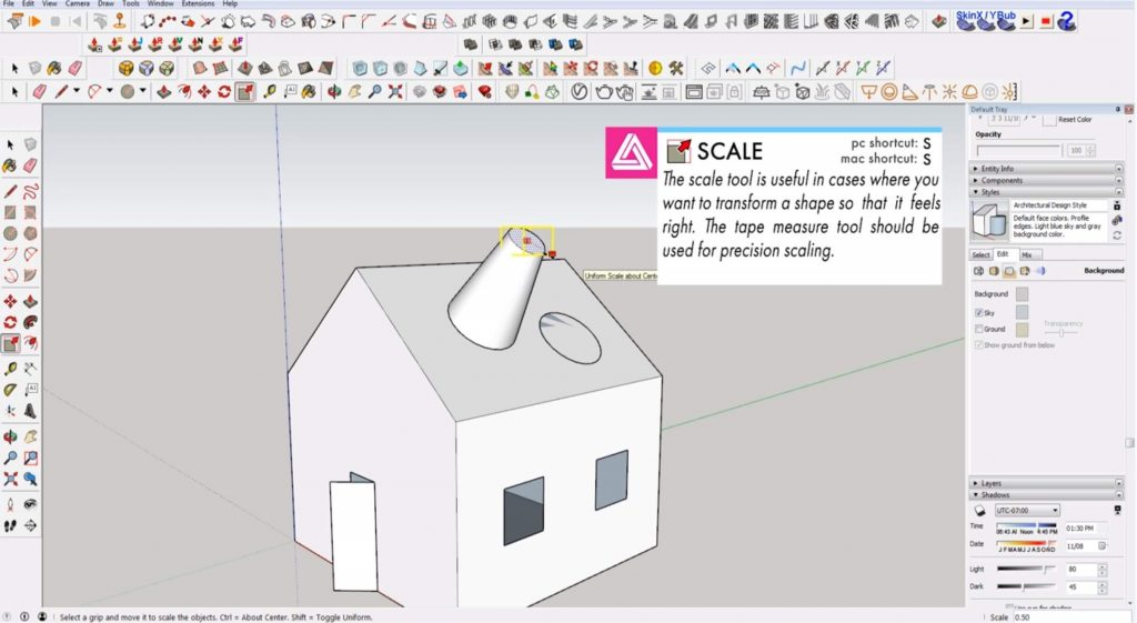 Sketchup for beginners: scaling